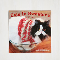 Cats Down to the Knitty Kitty 2016 Wall Calendar by ModCloth