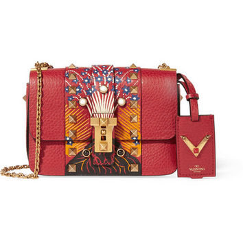 Valentino - B-Rockstud micro printed textured-leather shoulder bag
