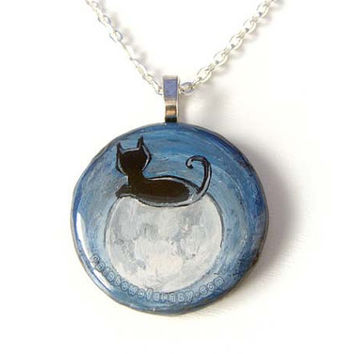 Full Moon Necklace, Black Cat Art Pendant Painting, Cat Silhouette Jewelry, Rectangle Wood Artwork