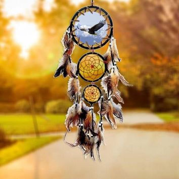Home Wall Hanging Decoration Wolf Pattern Ornament Dream Catcher With Feathers Hot