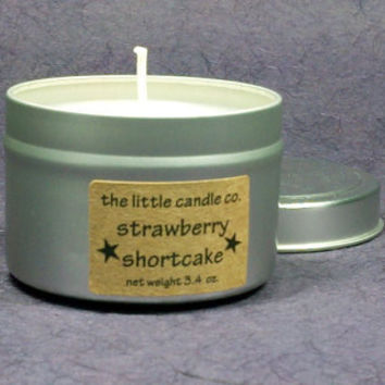 Soy Candle Tin // Strawberry Shortcake // Highly Scented Container Candle // Mother's Day Gift // Wedding Favor // Primitive Home Decor