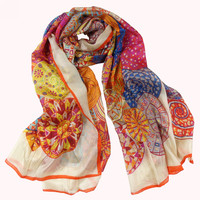 """180*110cm Extra Large Women Fashion Yellow Long Silk Scarf """"H"""" Style New Design Ladies's Apparel Accessories Silk Scarf Printed"""