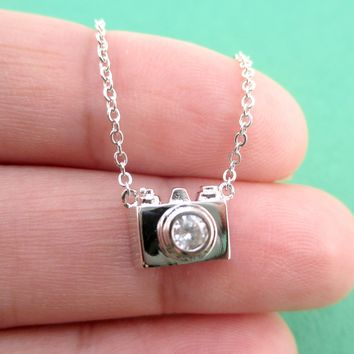 Tiny 3D Camera Shaped Rhinestone Lens Pendant Necklace in Silver