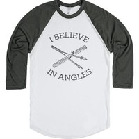 I Believe in Angles-Unisex White/Asphalt T-Shirt
