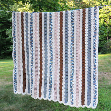 Multicolored striped crochet afghan blanket throw in brown blue eggshell off-white stripy pattern 80 x 48 in