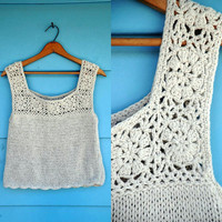 1970s. cream crochet crop tank with scallop hem. s-l