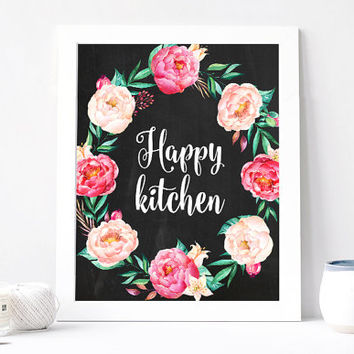 Happy Kitchen Poster, Aquarelle Flowers, Flower Wreath, Inspirational Quote Print, Motivation, Watercolor, Kitchen Art, Home, Positive