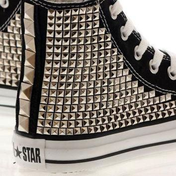 CREYONB Studded Converse Silver Pyramid studs with converse Black high top / Oneside Studded