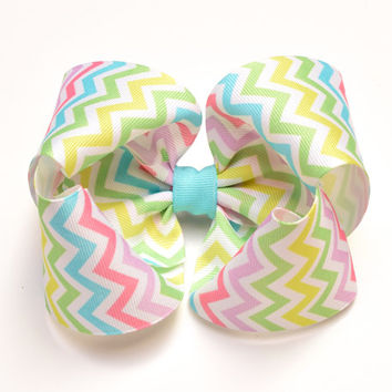 Chevron, Pastel Hair Bow, Extra Large Hair Bow, 5 Inch Hair Bows, Toddler Hairbow, Barrette or Alligator Clip