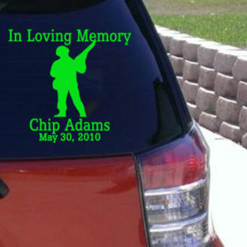 In Loving Memory Army Soldier Window Sticker Car Decal Hunter