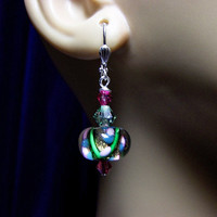 Crystal Lampwork Flower Earrings, Christmas Gift, Mom Sister Girlfriend Grandmother Wife Bridesmaid Jewelry Gift