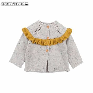Baby Girl Sweater Coat Autumn Ruffle Knitted Baby Sweater For Girls Winter Baby Girls Cardigan Princess Baby Knitted Clothes