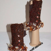 Hand knit textured fingerless texting mittens gloves with beads.