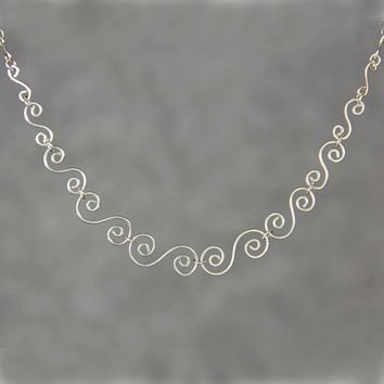 Sterling silver gradation scroll serpetite handmade wiring necklace Bridesmaids gifts Free US Shipping handmade Anni Designs
