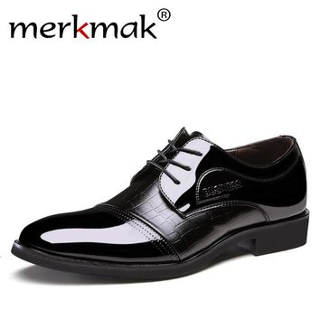Luxury Brand Patent Leather Shoes Men Oxfords Men's Flats Formal Shoes Classic Business Dress Shoes Men's Oxford  Flats Big Size
