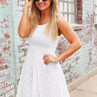 Bright In White Crochet Dress