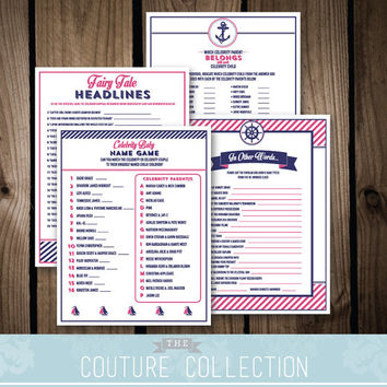 Baby Shower GAME PACKAGE of 4 games - Set 1 - Baby on Board Nautical Preppy Girl Baby Shower Navy and Pink Printable DIY Instant Download