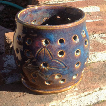 Blue Amber Star Candle Luminary - Hand Thrown stoneware pottery