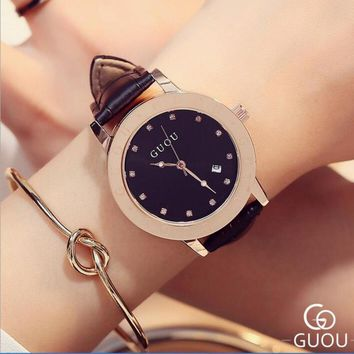 GUOU Brand Wrist Watch Luxury Diamond Watch Women Watches Women's Watches Auto Date Clock saat bayan kol saati reloj mujer