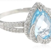 Sterling Silver Blue Topaz and Diamond Halo Teardrop Ring (1/5 cttw, I-J Color, I2-I3 Clarity), Size 7