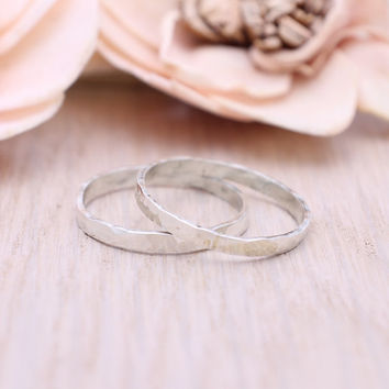 Set of Two / 925 sterling silver stacking ring / hammered ring / Knuckle Ring