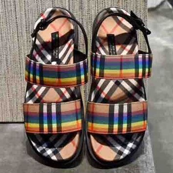 Burberry New Fashion Rainbow Colorful Plaid Sandals Single Shoes Women