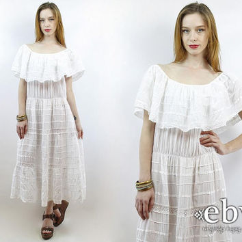 Vintage 70s Mexican Fiesta Dress XL 1X Plus Size Dress Plus Size Vintage Hippie Wedding Dress Hippie Dress Hippy Dress White Dress 2X Summer