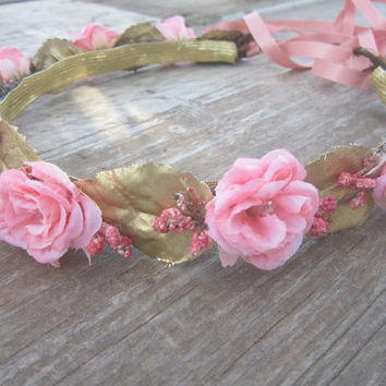 Flower wreath headband peach rose with Czech crystals gold leaves tiny berries ribbon ties rustic wedding accessory