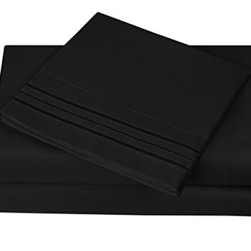 1800 Series Egyptian Collection 3 Line Microfiber 4 Piece Bed Sheet Set (Full, Black)
