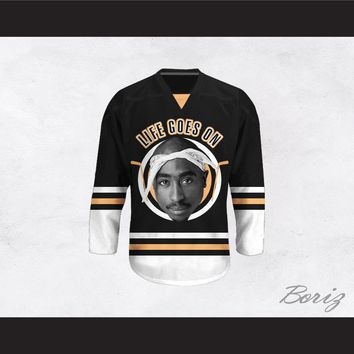 Tupac Shakur 6 Life Goes On Black Hockey Jersey