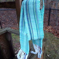 Mint scarf, Striped scarf with mint green and blue, woven scarf, cotton scarf, fashion scarf, mint accessories, womens scarf, gifts for mom