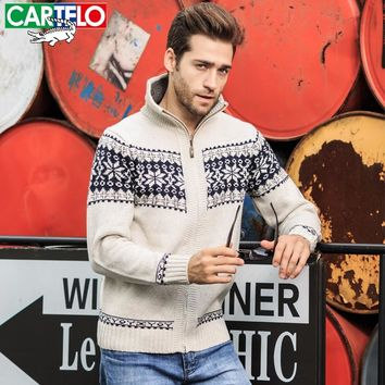 CARTELO Man Sweater Winter Dress Warm Thick Stand Collar Sweater Mens Casual Knitted Zipper Jacquard Cardigans Mens jumpers