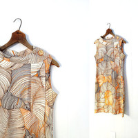 Vintage 60s Dress / 1960s Dress / Desert Palms / Scarf Collar / Medium M
