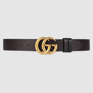 Gucci Reversible leather belt with Double G buckle
