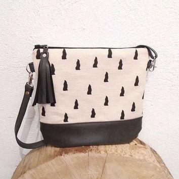 Geometric bag, canvas bag, crossbody canvas bag, shoulder bag,  crossbody purse, hobo bag, cotton handbag, daily bag, handmade bag