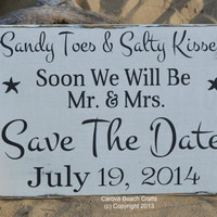 Save The Date Wedding Sign - Beach Wedding Sign Decor - Outdoor Rustic  - Photo Prop - Personalize Custom - Nautical Coastal - Black White