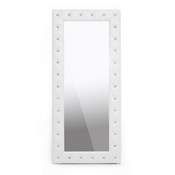 Carly White Leather Floor Mirror