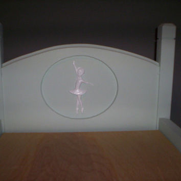 Handcrafted American Girl doll size bed green ballerina dancer doll furniture