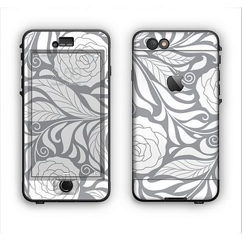 The Gray Floral Pattern V3 Apple iPhone 6 LifeProof Nuud Case Skin Set