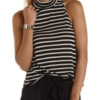 Black Combo Sweater Knit Sleeveless Turtleneck Top by Charlotte Russe