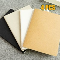 4pcs School notebook Vintage diary Notebook paper 92 sheets Notepad cowhide cover copybook Note book Office School Supplies Gift