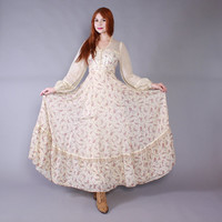 70s GUNNE SAX DRESS / Vintage 1970s Ivory Floral Roses & Lace Full Skirt Corset Bodice Maxi xs - s