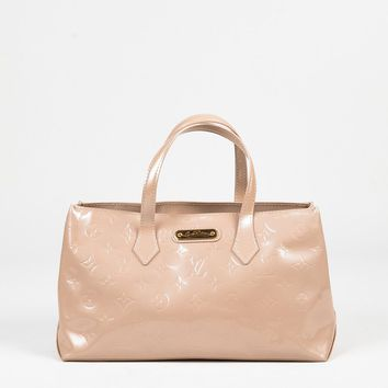 "Louis Vuitton Nude Pink Patent Leather ""Wilshire PM"" Satchel Bag"