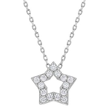 925 Sterling Silver Cubic Zirconia Open Star Necklace Pendant for Girls 17""