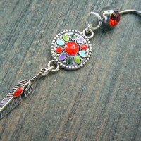 enameled dreamcatcher belly ring  RED in native american tribal boho hippie belly dancer beach bohemian tribal fusion and hipster style