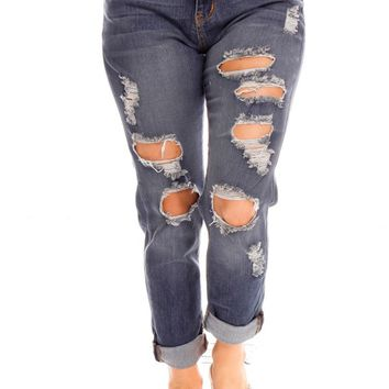 MEDIUM BLUE WASHED OUT STYLE DISTRESSED STRETCHY CAUSAL JEANS