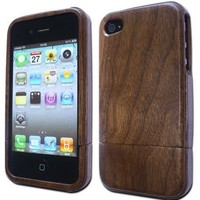Plain | Natural Walnut Wood Case for iPhone 4/4S + Screen Protector