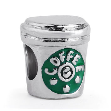 1PC Silver Plated Coffee Cup Charm Bead