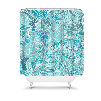 Shower Curtain Waves Paisley Swirl Aqua Blue Turquoise Floral Swirl Bathroom Bath Polyester Made in the USA