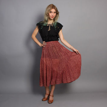 70s INDIAN Gauze SKIRT / Mauve & Metallic Gold Lace Print Midi, xs